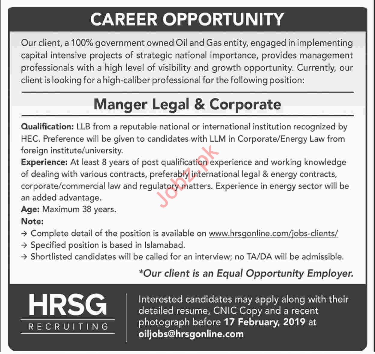 Manager Legal and Corporate Jobs at HRSG Recruiting