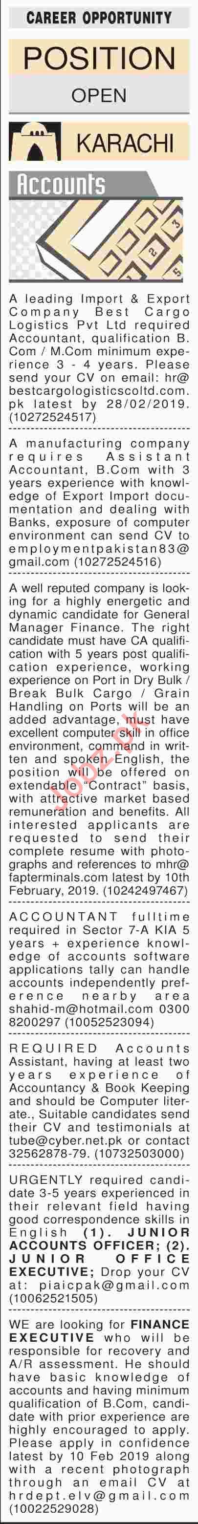 Dawn Sunday Newspaper Accounts Classified Jobs 03/02/2019