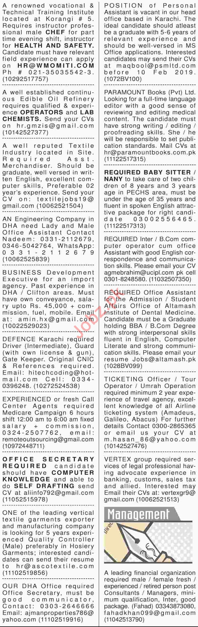 Dawn Sunday Newspaper General Classified Jobs 03/02/2019