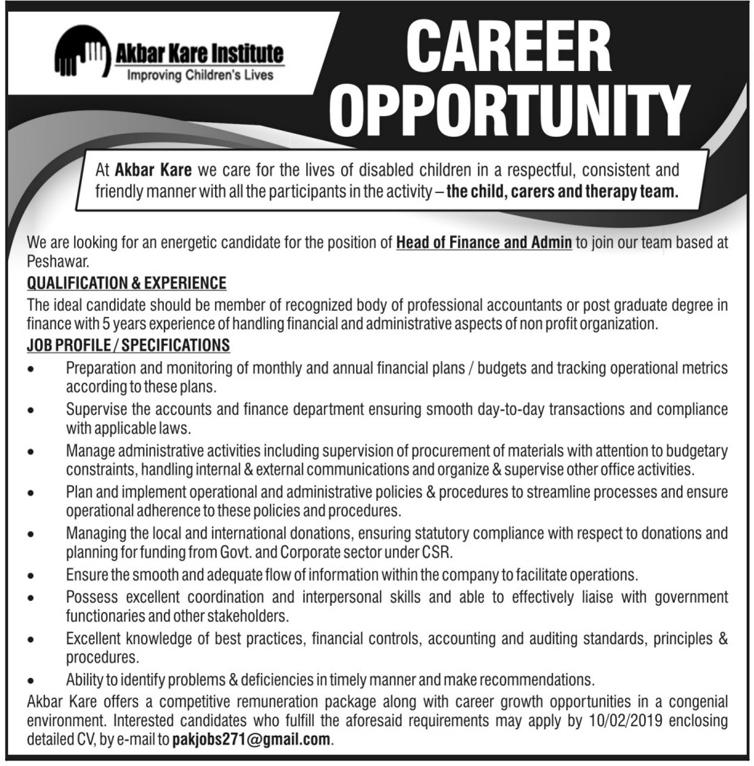 Akbar Kare Institute Improving Children Live Finance Jobs