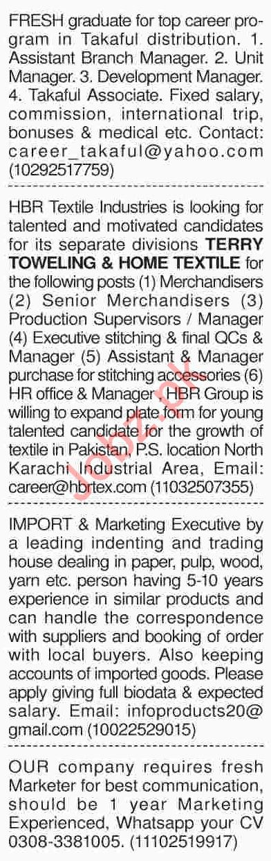 Dawn Sunday Newspaper Marketing Classified Jobs 03/02/2019