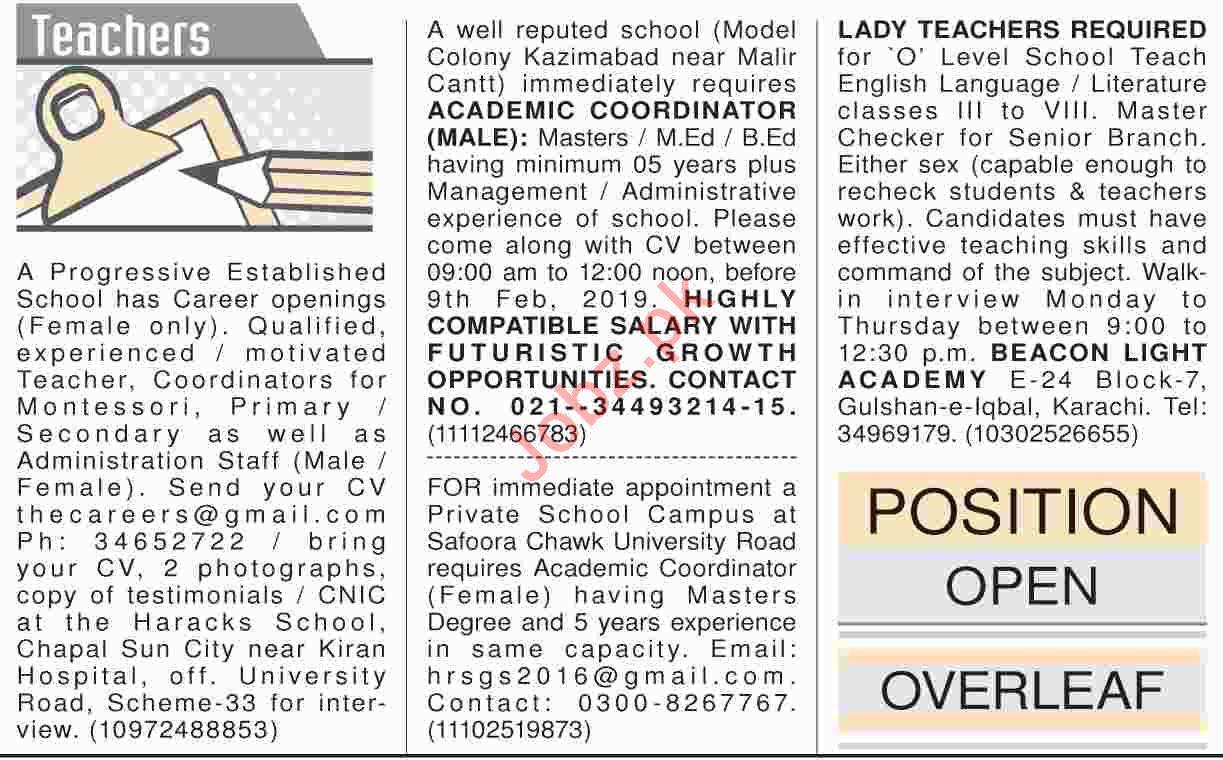 Dawn Sunday Newspaper Teaching Classified Jobs 03/02/2019