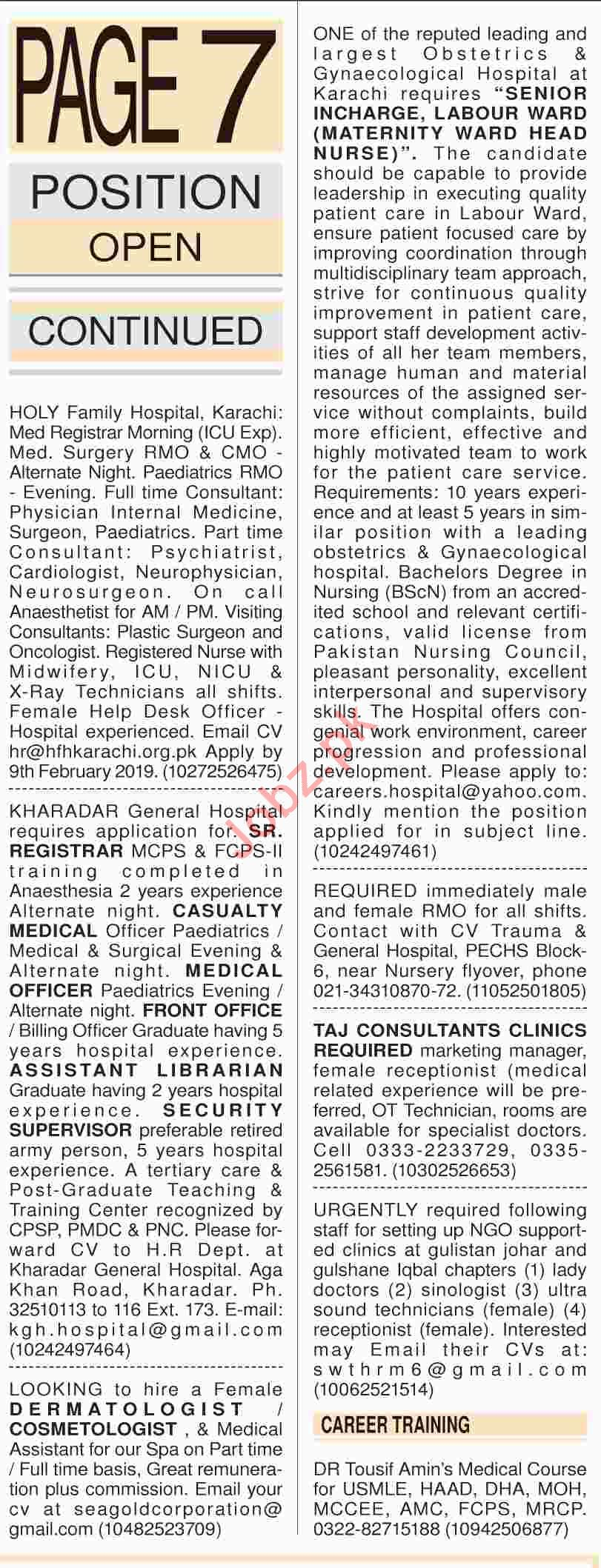 Dawn Sunday Newspaper Medical Classified Ads 03/02/2019