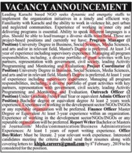 Non Governmental Organization NGO Jobs 2019 in Karachi