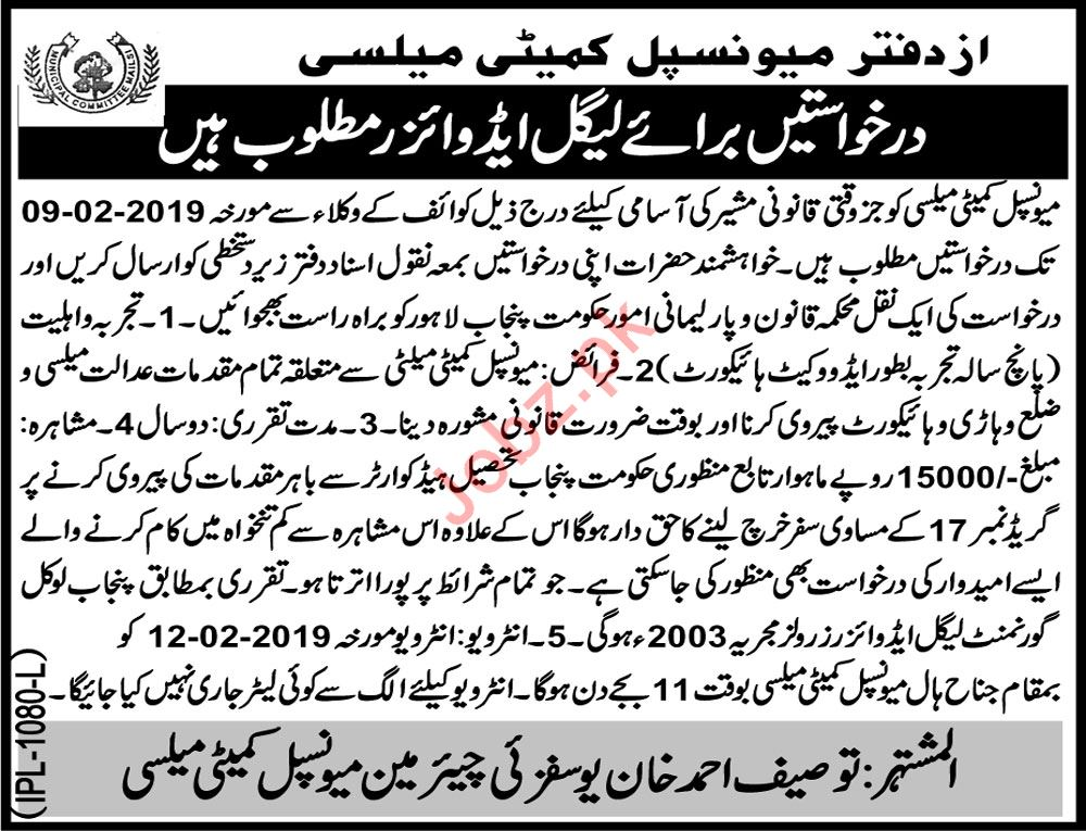 Municipal Committee Mailsi Job For Legal Advisor