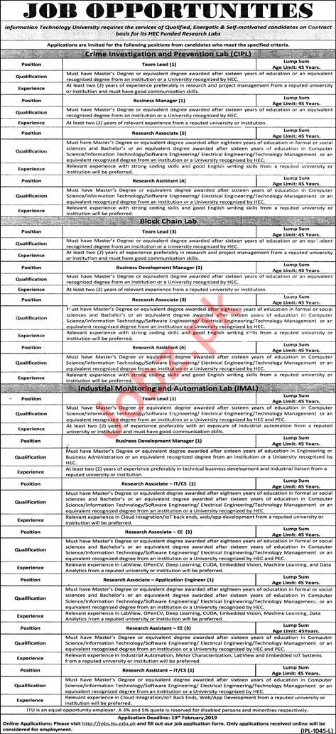 Information Technology University ITU Jobs For Lahore