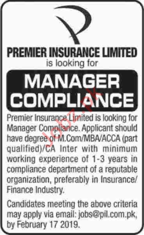 Premier Insurance Limited Manager Compliance Jobs