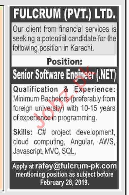 Software Engineer .net Jobs at  Fulcrum Pvt Ltd
