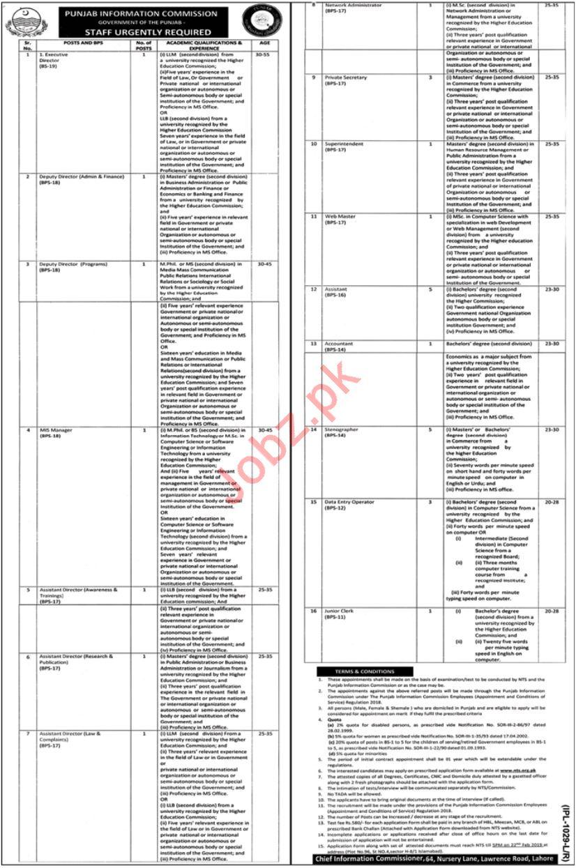 Punjab Information Commission Jobs 2019 via NTS