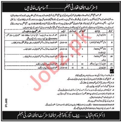 Health Department Jobs 2019 in Jhelum