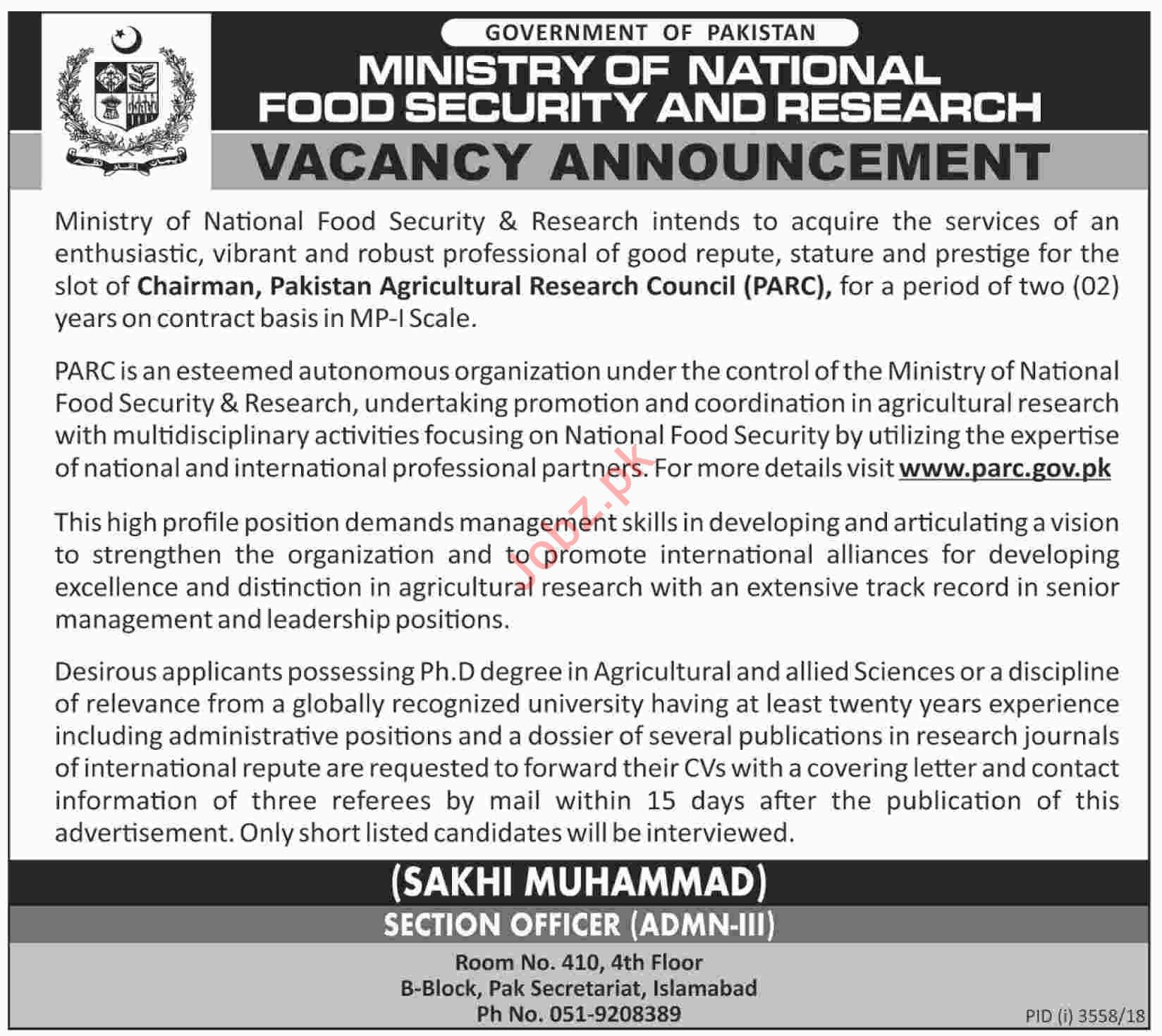 Chairman Jobs at Ministry of National Food Security