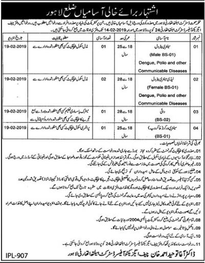 District Health Authority Sanitary Petrol Jobs 2019