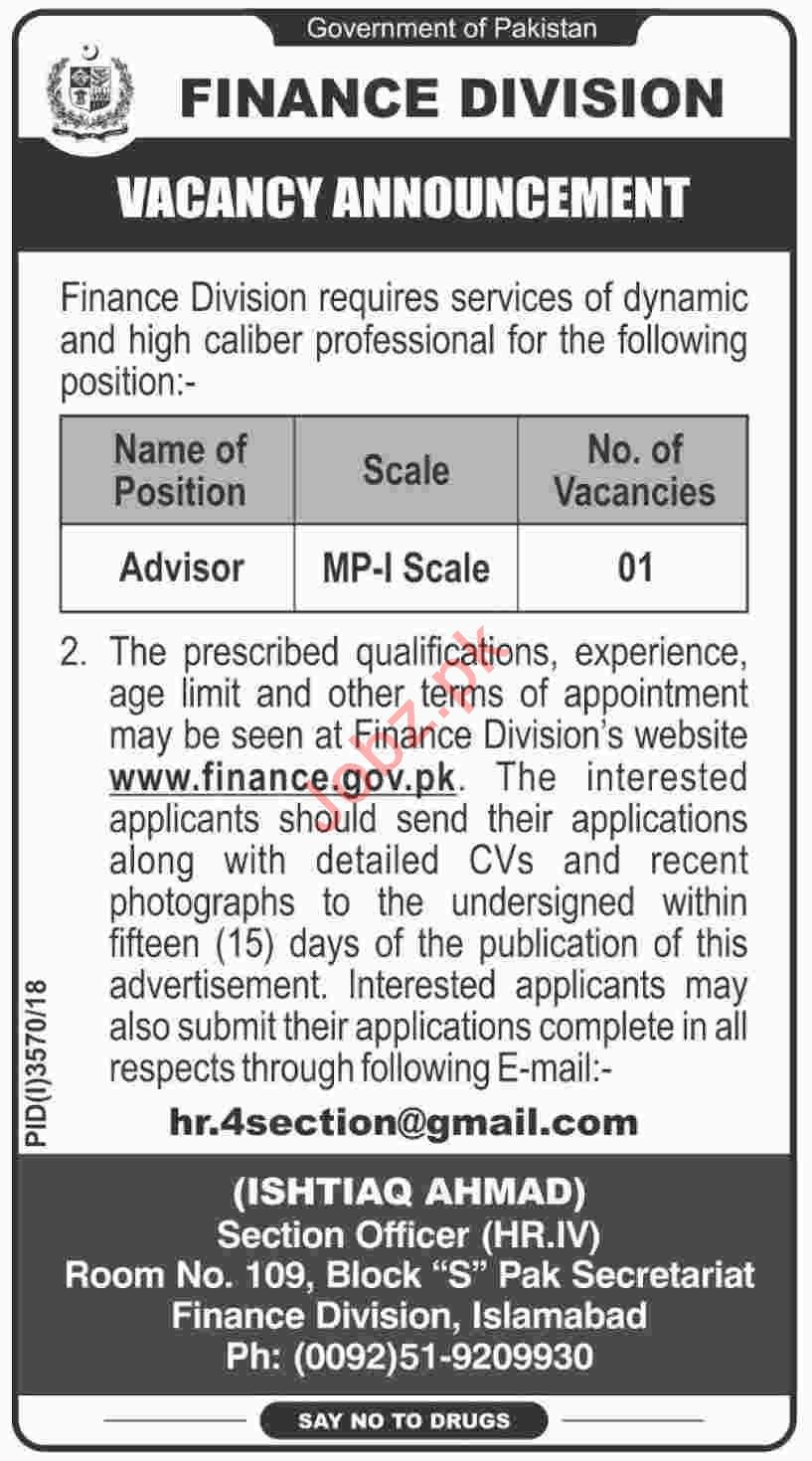 Advisor Job Opportunities at Finance Division