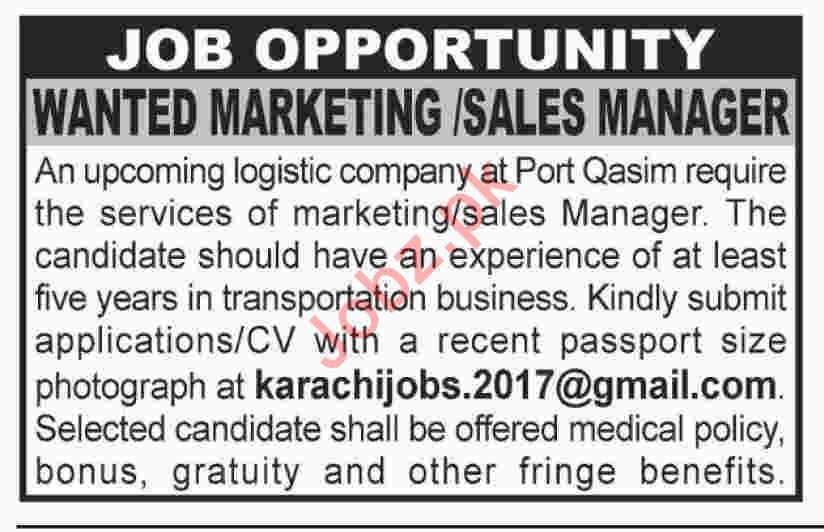 Marketing Manager Jobs at Logistic Company