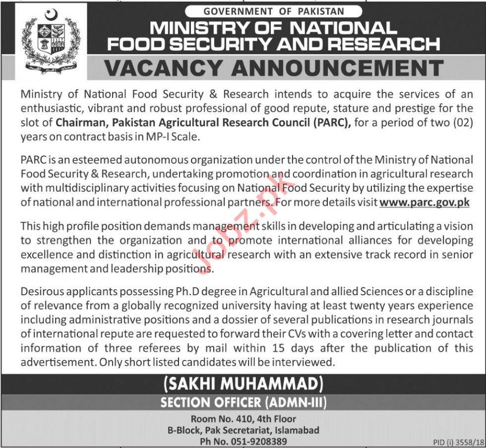 Chairman Careers at Ministry of National Food Security