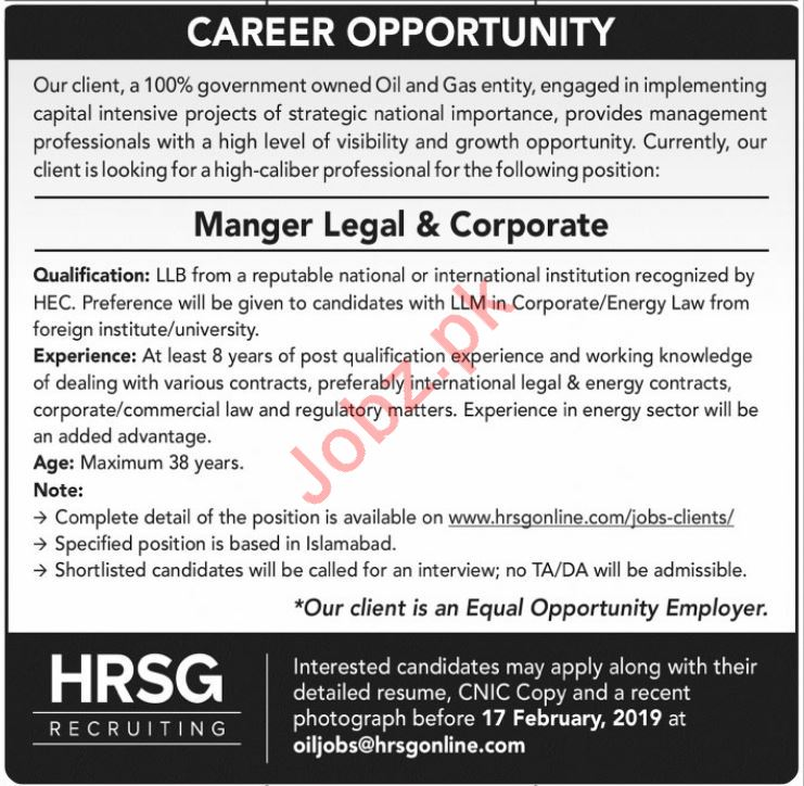 Manager Legal and Corporate Careers at HRSG Recruiting