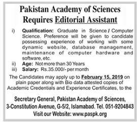 Pakistan Academy of Sciences Editorial Assistant Jobs 2019