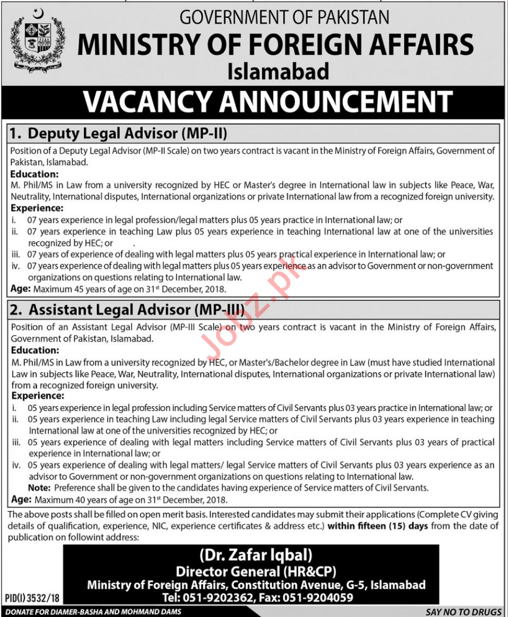Ministry of Foreign Affairs Deputy Legal Advisor Careers