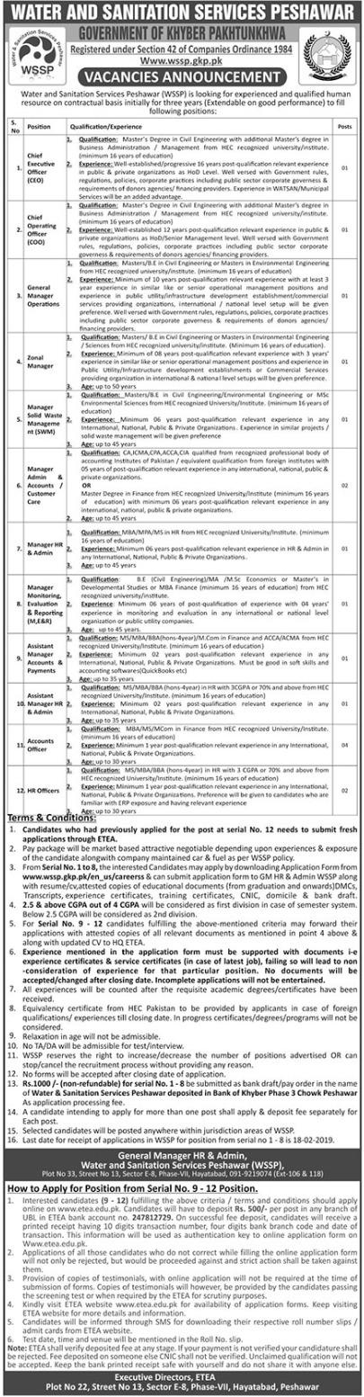 Water & Sanitation Services Pakistan Executive Officer Jobs