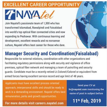 Nayatel Manager Security & Coordination Jobs 2019