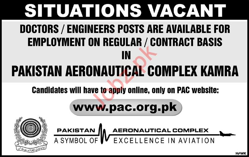 Pakistan Aeronautical Complex PAC Jobs in Kamra