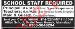 Principal, Teachers, Maid & Guard Jobs 2019 in Islamabad