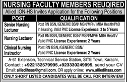 Senior Nursing Lecturer Jobs in Allied ION HS