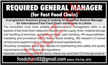 General Manager Jobs at Fast Food Chain