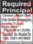Principal Job For School In Shakargarh