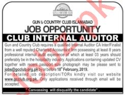 Gun & Country Club Islamabad Job For Club Internal Auditor