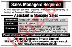Concrete Concepts Pvt Limited Sales Jobs in Lahore & Hattar