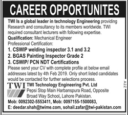 TWI Technology Engineering CSWIP Welding Inspector Jobs