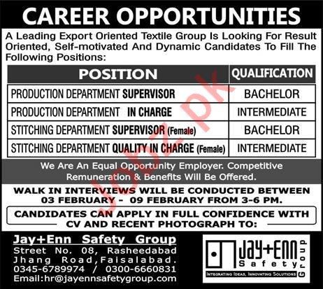 Jay+Enn Safety Group Production Department Supervisor Jobs
