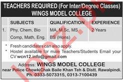 Wings Model College Teaching Jobs 2019