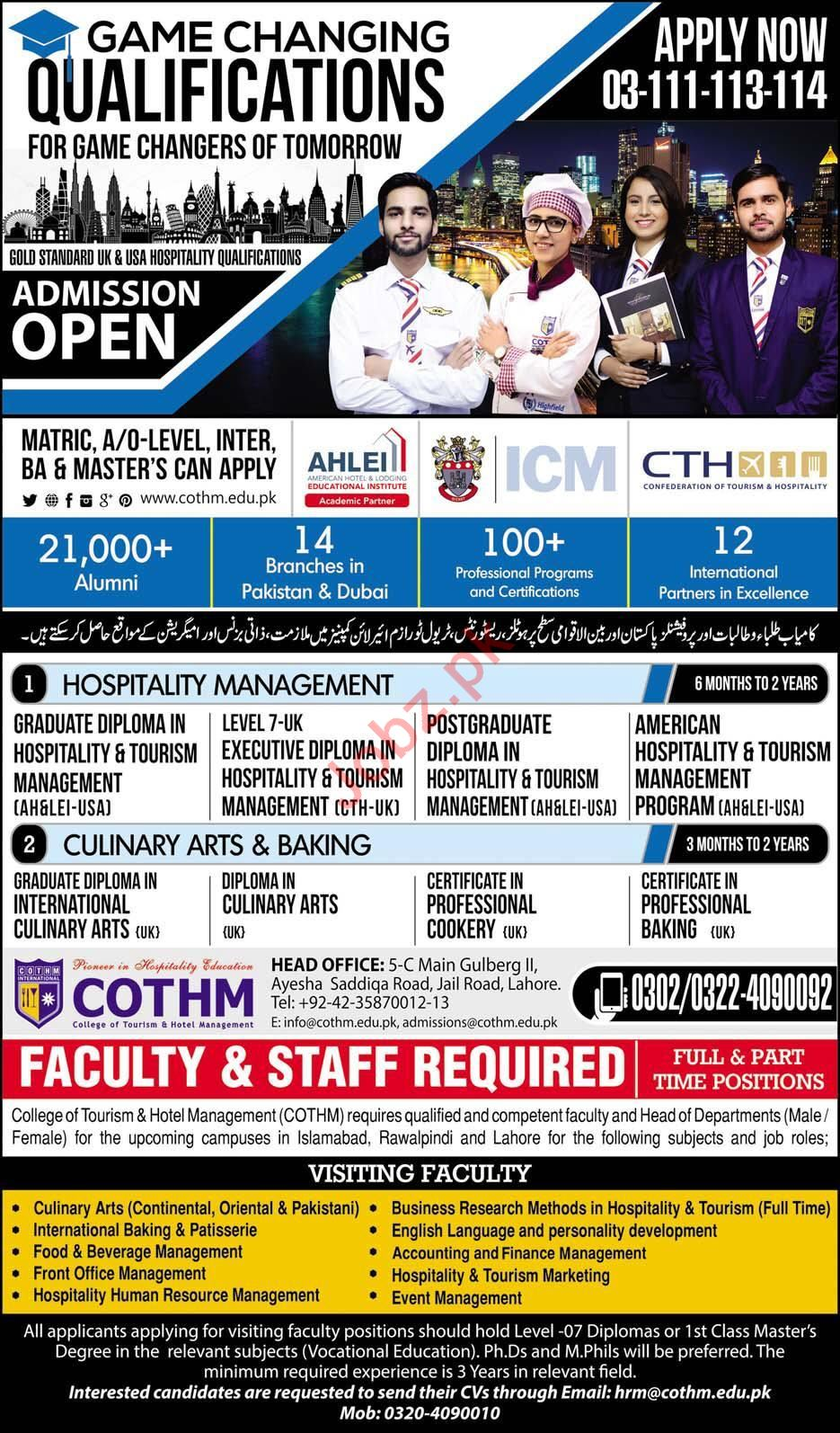 College of Tourism & Hotel Management COTHM Faculty Required