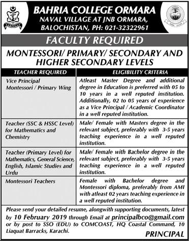 Bahria College Ormara Vice Principal Jobs 2019