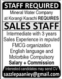 Sales Staff Jobs in Mineral Water Company