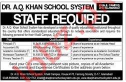 Dr AQ Khan School System Teaching Jobs 2019