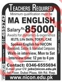 NICON Group of Colleges Teaching Jobs 2019 in Rawalpindi
