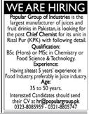 Popular Group of Industries Chief Chemist Jobs 2019 Job