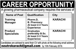 Training Manager Jobs in Pharmaceutical Company