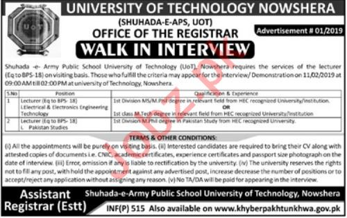 University of Technology Nowshera for Lecturers
