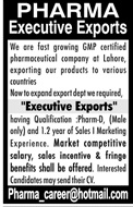 Executive Export Jobs in Pharma