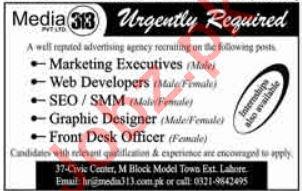 Marketing Executive, Web Developer & SEO Jobs 2019