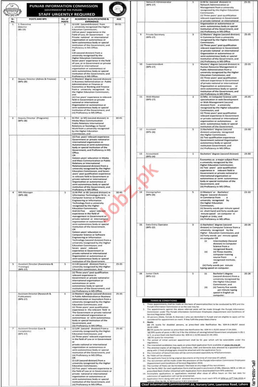 Punjab Information Commission Lahore Jobs 2019 for Directors