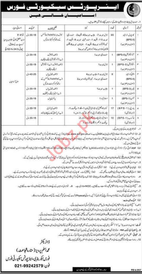 Airport Security Force ASF Karachi Jobs 2019 Cook & Driver