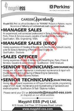 Mayphil ESS Pakistan Jobs 2019 for Manager & Technicians