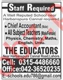 The Educators Lahore Jobs 2019 for Teachers & Accountant