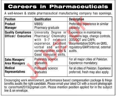 Product Manager, Quality Compliance Officer & Manager Jobs