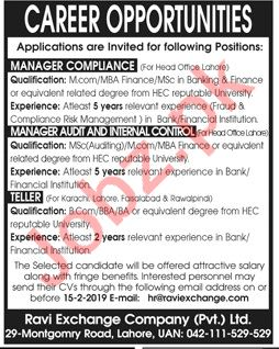 Ravi Exchange Company Lahore Jobs 2019 for Managers
